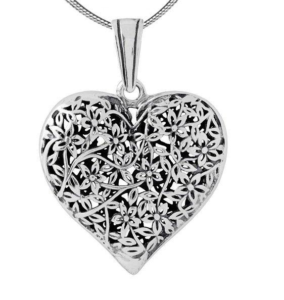 0b63cba9458a06 Srebrna, oksydowana zawieszka ażurowe serce | KOLEKCJE \ Serca ZAWIESZKI |  Sklep z bizuterią i dodatkami